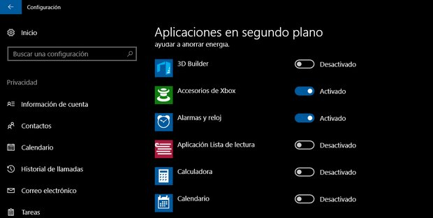 aplicaciones segundo plano windows10